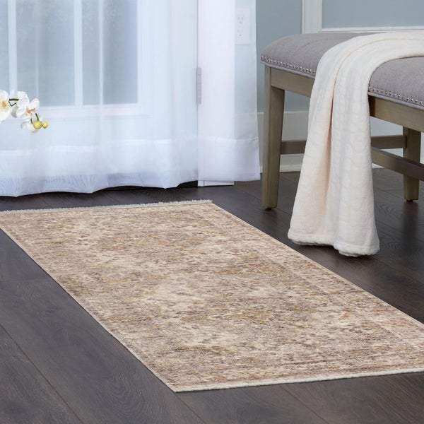 Shop Artisan Beige Distressed Medallion Area Rug With