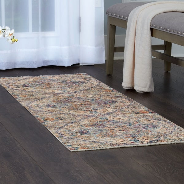Shop Artisan Gray Blue Large Medallion Area Rug With