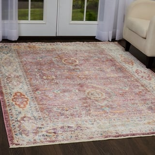 Pink Ivory Distressed Area Rug With Fringe By Nicole Miller 7 10