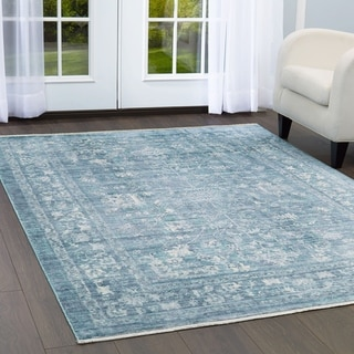 "Artisan Blue Area Rug with Fringe by Nicole Miller - 7'10""x10'2"""