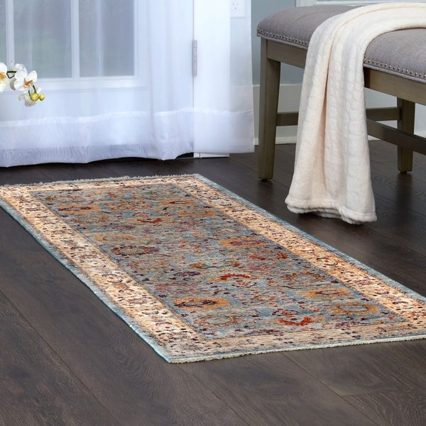 Shop Artisan Aqua Oriental Area Rug With Fringe By Nicole