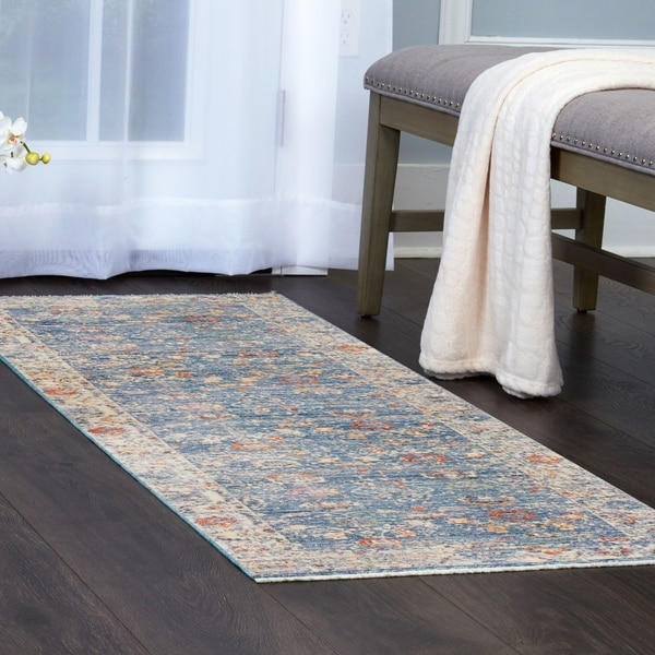 Shop Artisan Turquoise Bordered Area Rug With Fringe By