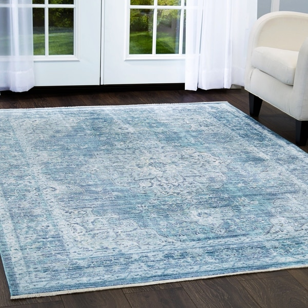 Shop Artisan Blue Distressed Medallion Area Rug With