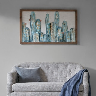 Madison Park Cactus Green Metal Wall Art Decor with Wooden Frame