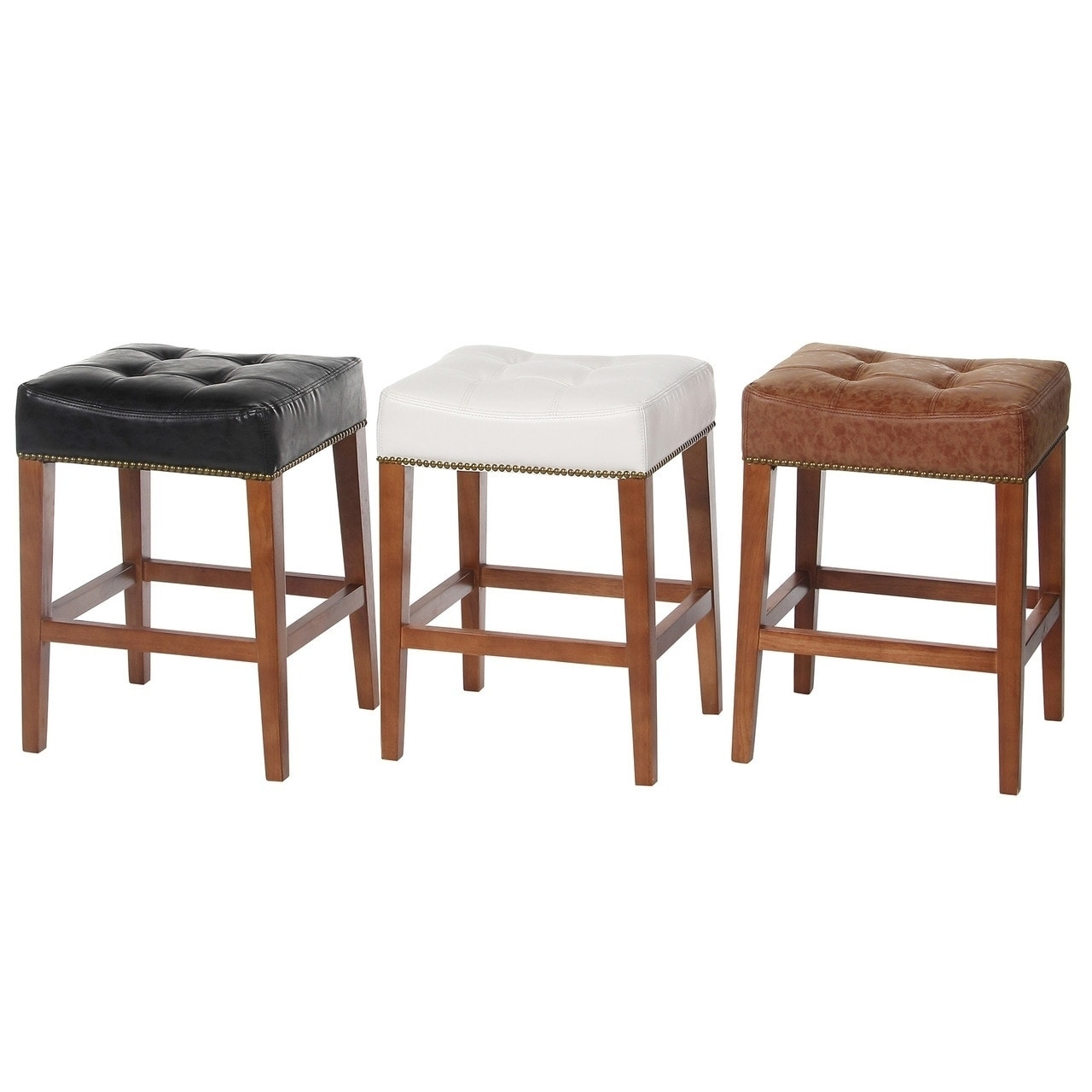 Nashville 24 Inch Low Counter Stool Vintage Leather Nailhead Trim