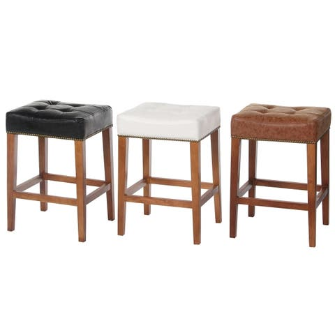 "Handmade 26"" Nashville Vintage Leather Counter Stool"
