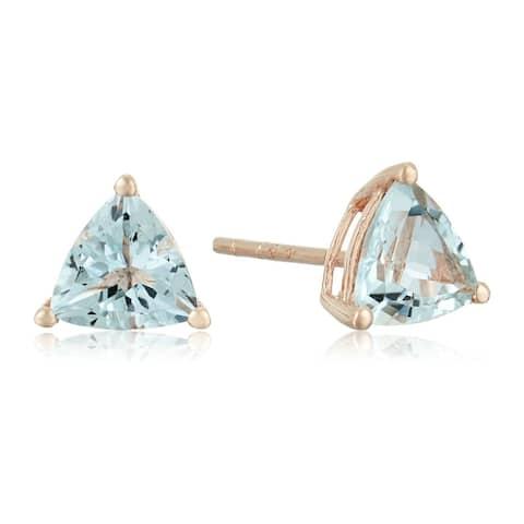 10k Rose Gold Aquamarine Trillion Stud Earrings