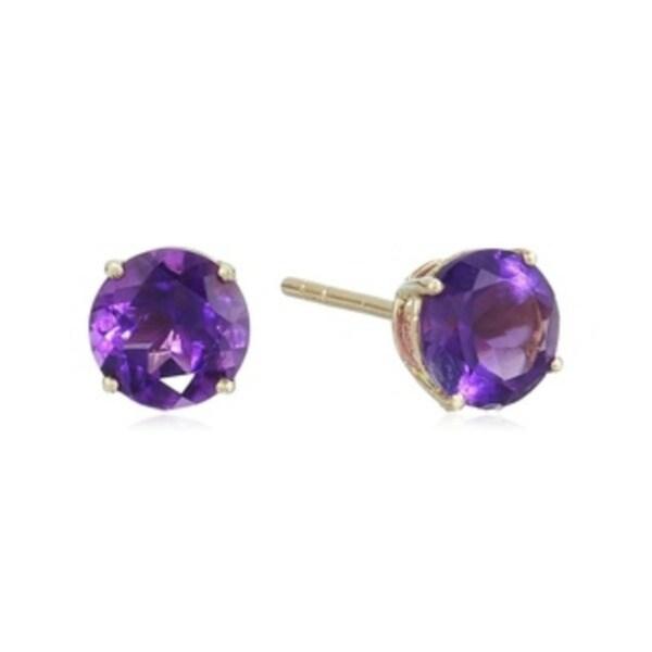 10k Yellow Gold African Amethyst Round Stud Earrings - Purple. Opens flyout.