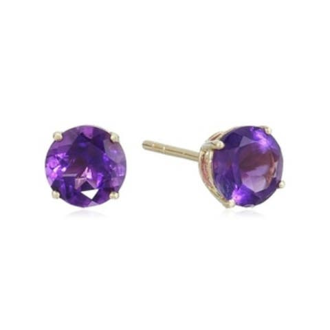 10k Yellow Gold African Amethyst Round Stud Earrings - Purple