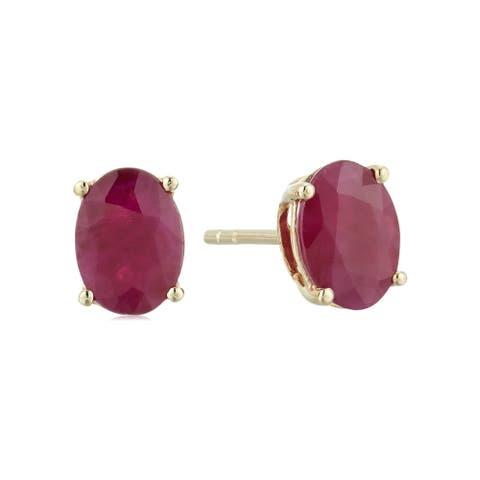 10k Yellow Gold Genuine Ruby Oval Stud Earrings