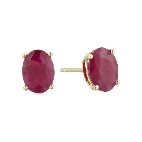 Pinctore 10k Yellow Gold Genuine Ruby Oval Stud Earrings Red
