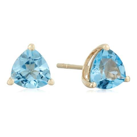 10k Yellow Gold Swiss Blue Topaz Trillion Stud Earrings