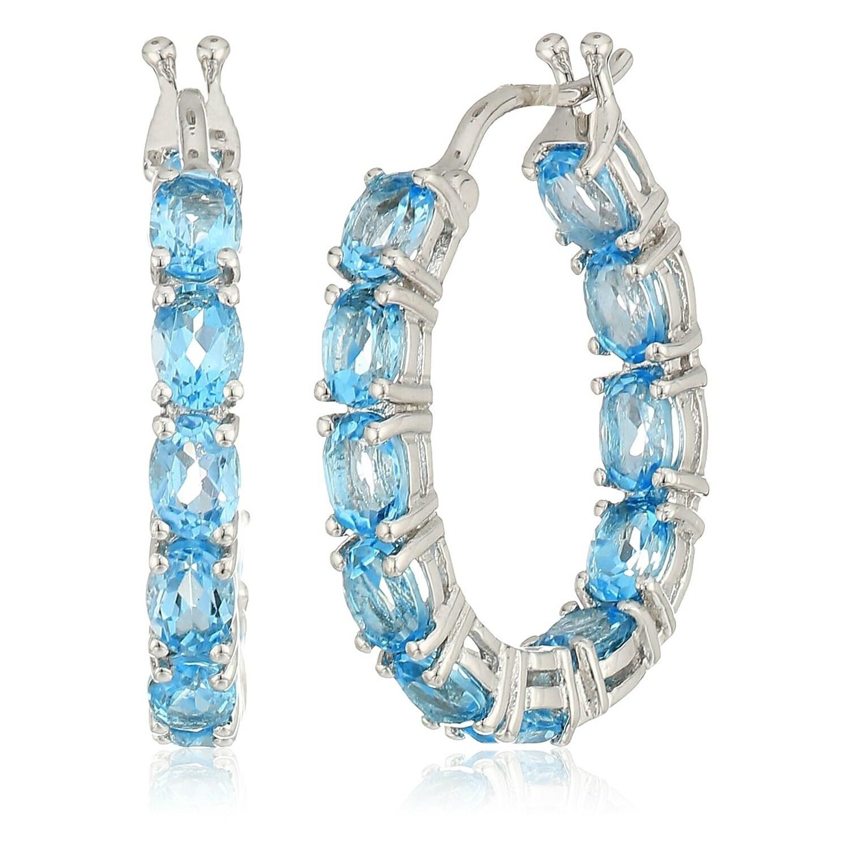 Blue Topaz gemstone 925 sterling silver dangle earrings 3.93 gms