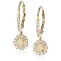 Pinctore Ethiopian Opal and Created White Sapphire Dangle Earrings