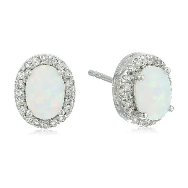 168c73738 Pinctore Sterling Silver Opal Oval and White Topaz Halo Stud Earrings.  Image Gallery