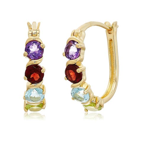 """Yellow Gold-plated Silver 2 cttw Multi-stone Hoop Earrings, 1"""" - Blue"""