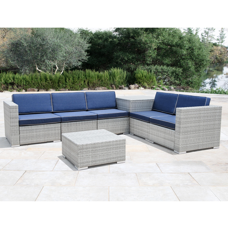Tremendous Corvus Bologna 7 Piece Grey Wicker Patio Furniture Set With Storage Box Inzonedesignstudio Interior Chair Design Inzonedesignstudiocom