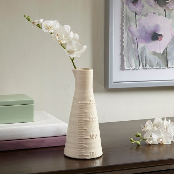 Shop Madison Park Beaker White Ceramic Vase Small On Sale Free