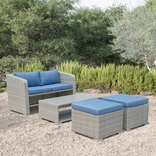 Corvus Tino 4-piece Grey Wicker Outdoor Chat Set with Blue Cushions