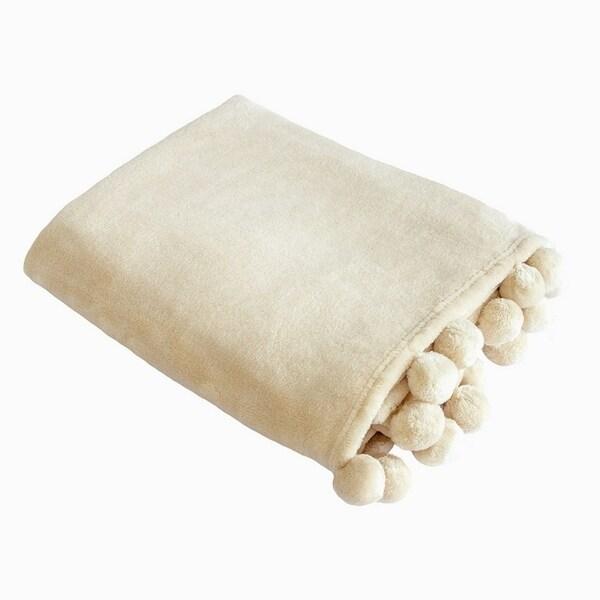Pom Pom Throws//Blanket 130X180 Size Printed Soft Warm Fleece Small Sofa bed