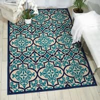 "Nourison Aloha Indoor/Outdoor Navy Blue Damask Rug - 9'6"" x 13'"