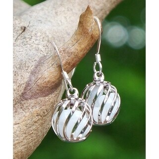 Handmade Reclaimed Vintage White Cold Cream Jar Cage Earrings (United States)