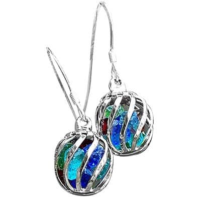 Handmade Recycled Vintage Bottles Multi Glass Cage Earrings (United States)