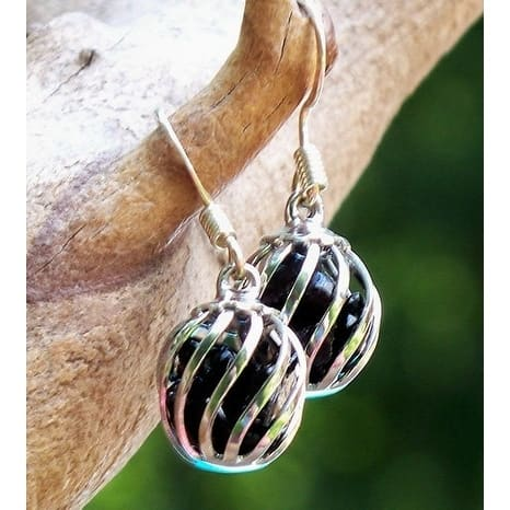 Recycled Black Depression Glass Cage Earrings