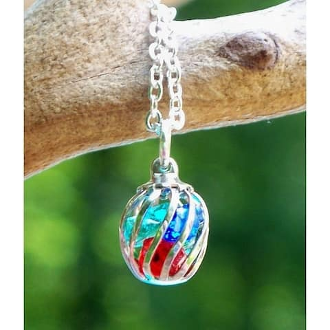 Handmade Recycled Multi Glass Vintage Bottle Cage Necklace (United States) - Red