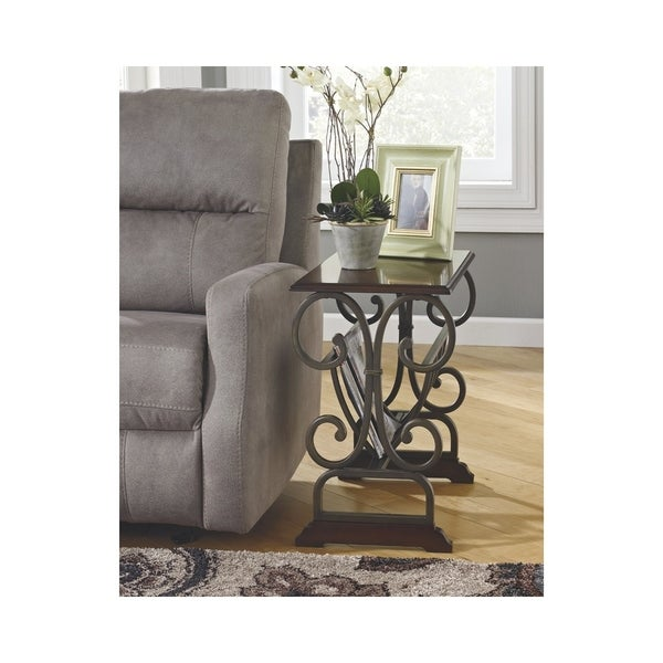Signature Design By Ashley Braunsen Brown Chairside End Table With Magazine Rack