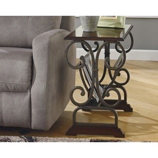 Braunsen Brown Chairside End Table with Magazine Rack
