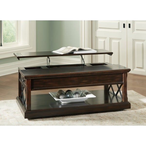 Wood Lift Top Coffee Tables: Shop Signature Design By Ashley Roddinton Dark Brown Wood