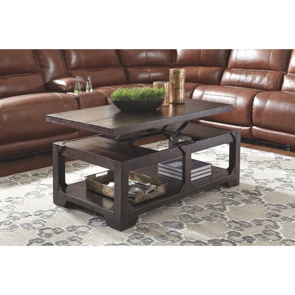 shop signature design by ashley rustic brown coffee table with lift top free shipping today. Black Bedroom Furniture Sets. Home Design Ideas