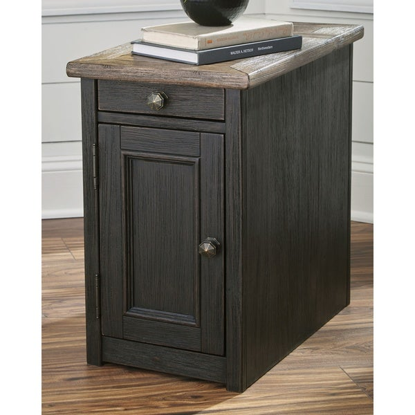 Signature Design by Ashley Tyler Creek Greyish Brown/Black Wood Chairside End Table