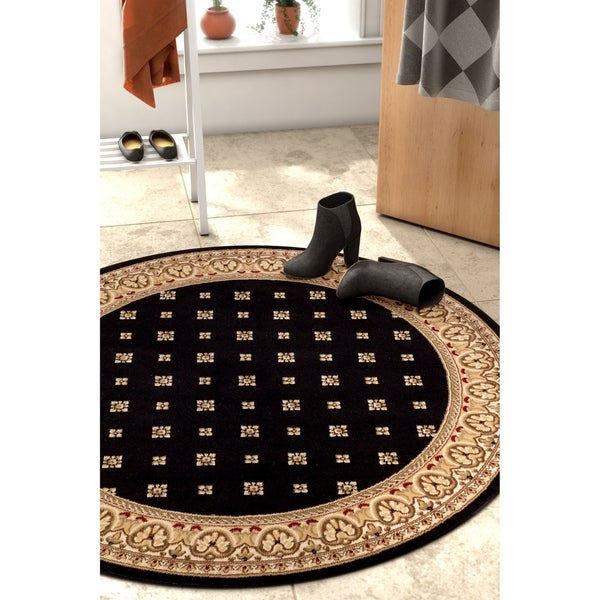 Well Woven Black Transitional Panel Round Rug - 7'10