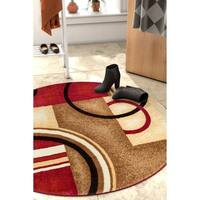 Well Woven Modern Geometric Abstract Shapes Round Rug - 3'10