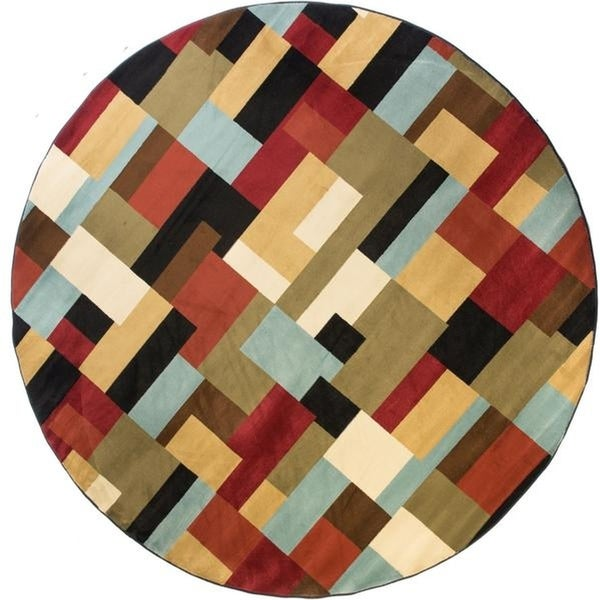 Well Woven Modern Geometric Boxes Red Round Rug - 5'3