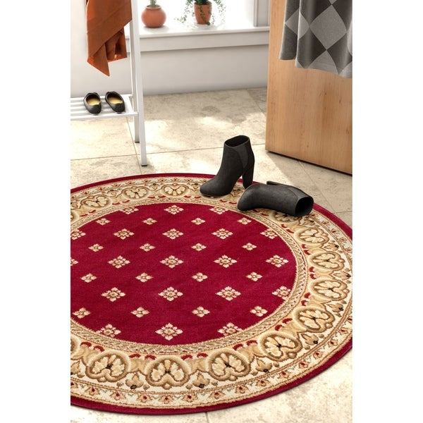 Well Woven Transitional Panel Round Rug - 3'10