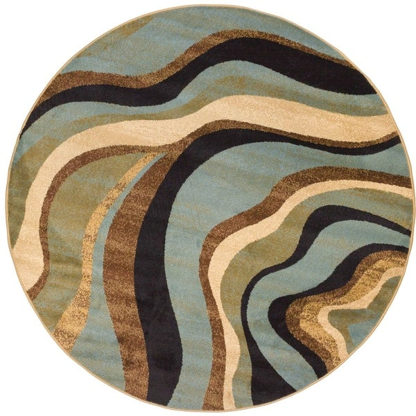 Well Woven Modern Waves Lines Multi Blue Round Rug - 7'10