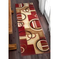 "Well Woven Modern Geometric Abstract Shapes Red Oversized Runner Rug - 2'7"" x 10'"