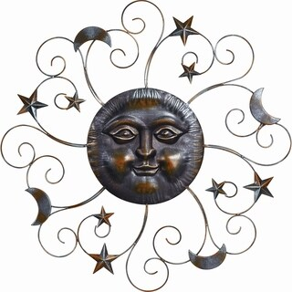 Transpac Metal  Pewter Spring Moon with Face Wall Decor