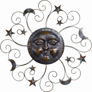 Metal Sun Face with Moon Stars