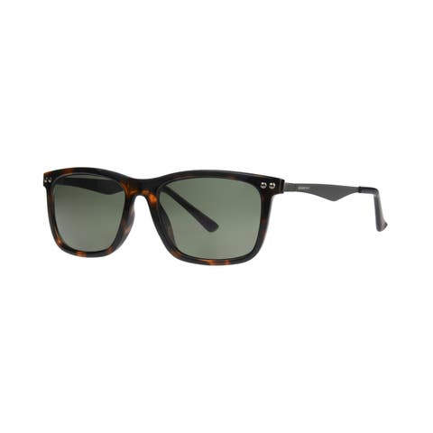 Anarchy Regi Men's Brown Demi Frame Green Polarized Lens Sunglasses - Medium