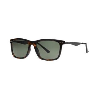 Anarchy Regi Men's Brown Demi Frame Green Polarized Lens Sunglasses - Medium
