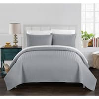 Chic Home Lapp 3 Piece Quilt Cover Set Geometric Chevron Bedding, Silver