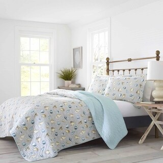 Laura Ashley Cockatoo Bay Silver Quilt Set