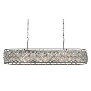Cassiel 40 Inch Rectangular Crystal Chandelier, Brushed Nickel
