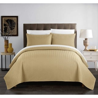 Chic Home Lapp 3 Piece Quilt Cover Set Geometric Chevron Bedding, Gold (3 options available)