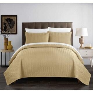 Chic Home Lapp 3 Piece Geometric Chevron Quilt Cover Set