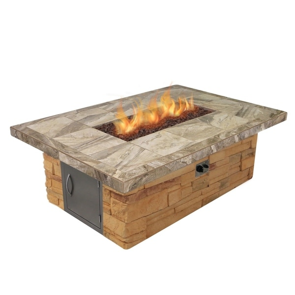 Cultured Stone and Tile Rectangle Fire Pit with Log Set and Lava Rocks
